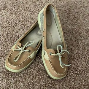 Sperry Top-Sider boat shoes, tan, size 8.5